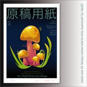 "Carta Manga Genkouyoushi ""Shiny mushrooms"" A4 B/N e colors – TSURI"