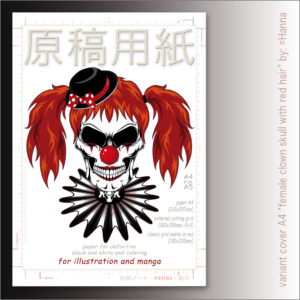 "Carta Manga Genkouyoushi ""Female clown skull"" A4 B/N e colors – TSURI"